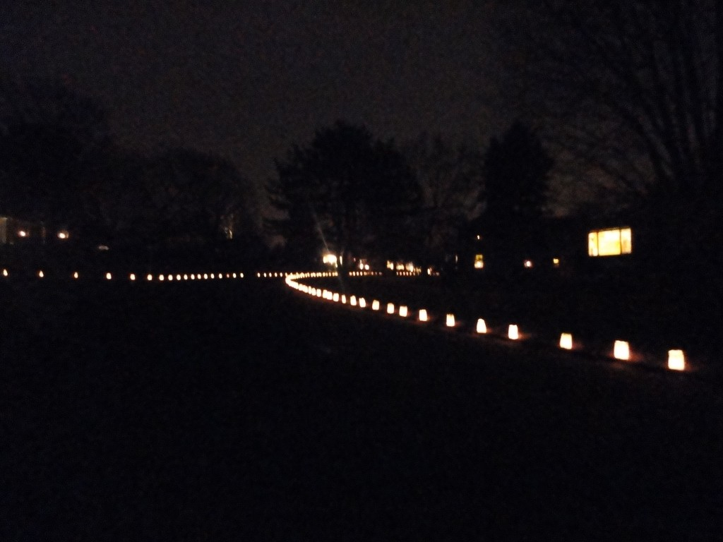 Luminaria lights in the neighborhood