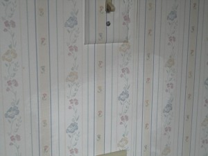 clean spot on otherwise dirty wallpaper