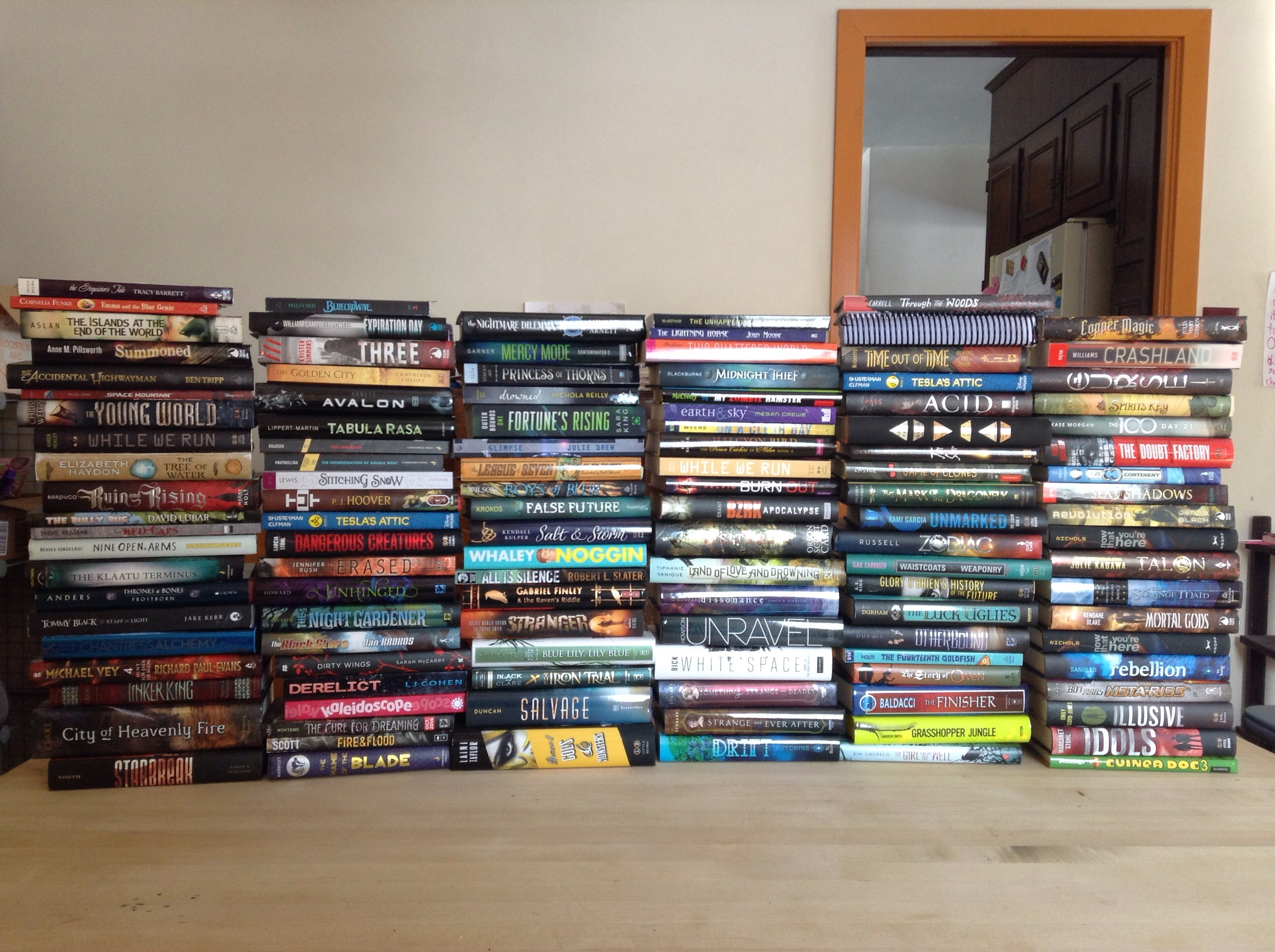 (stacks of books)