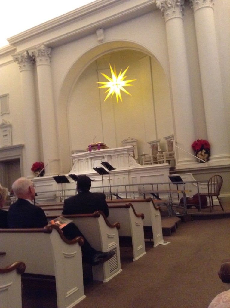 Moravian star over the altar