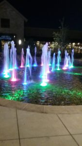 lit fountain at night