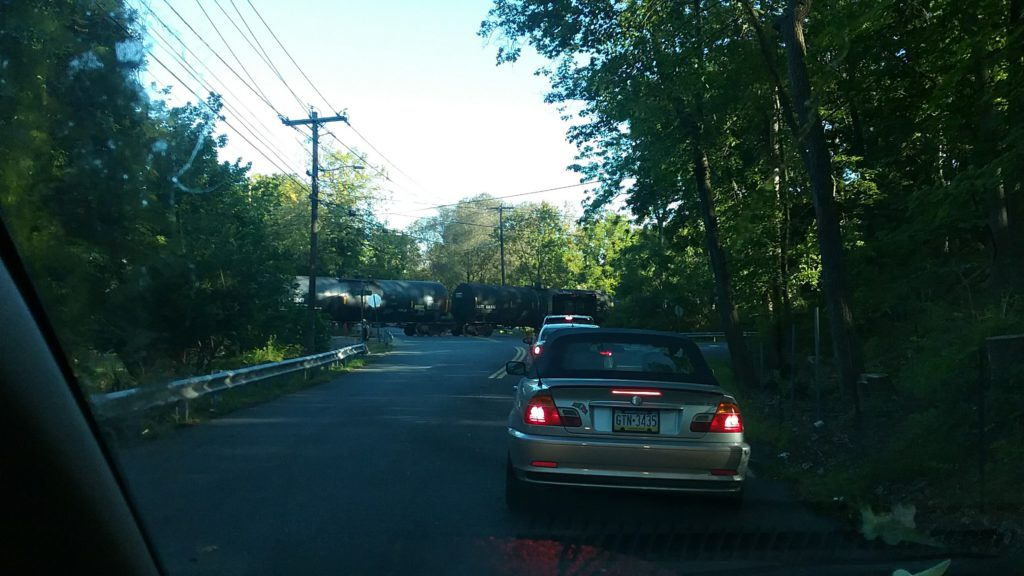 traffic stopped for a train