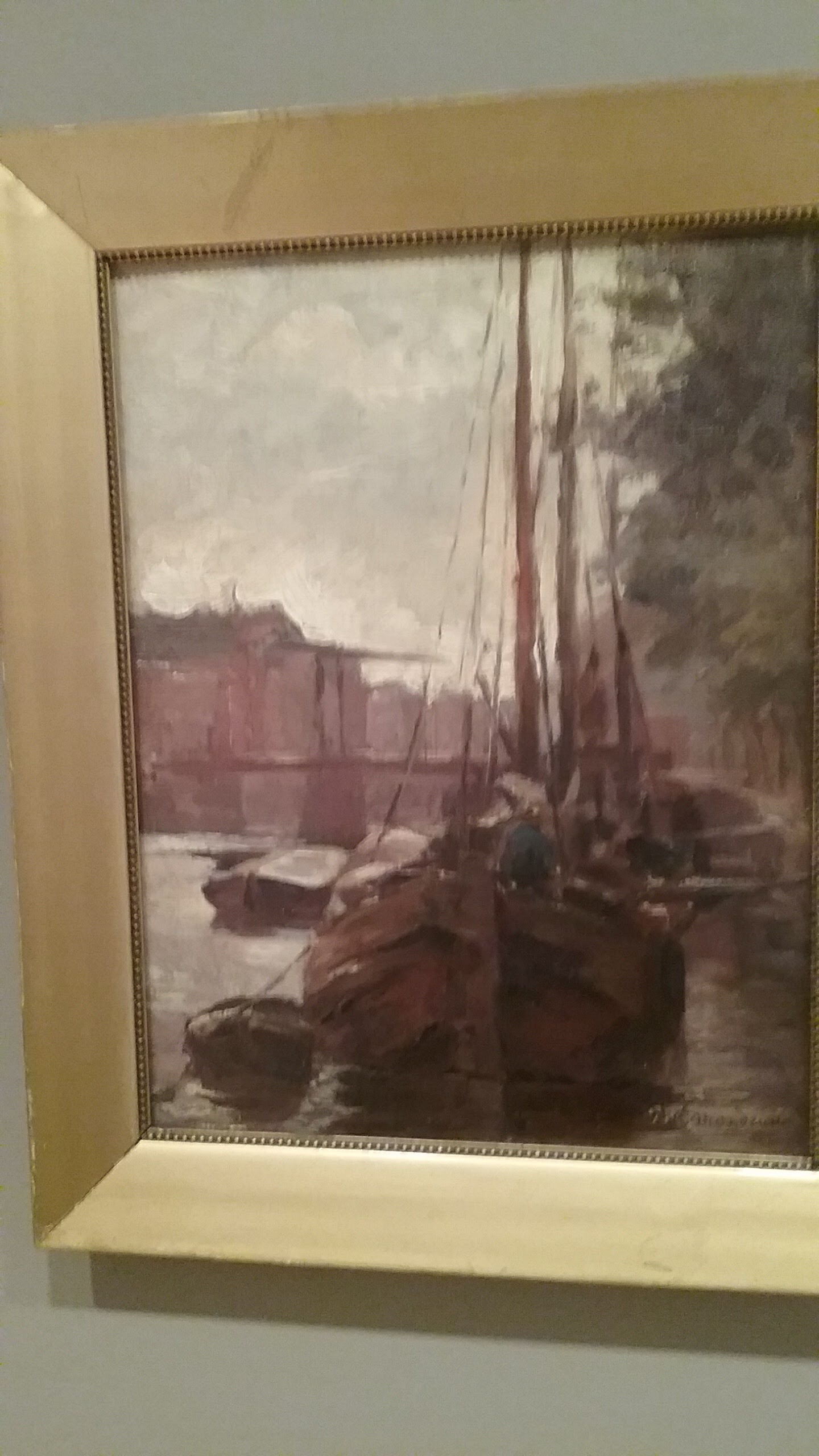 Piet Mondrian, Waals-Eilandgracht with Bridge and Moored Tjalk Barges, 1895-6