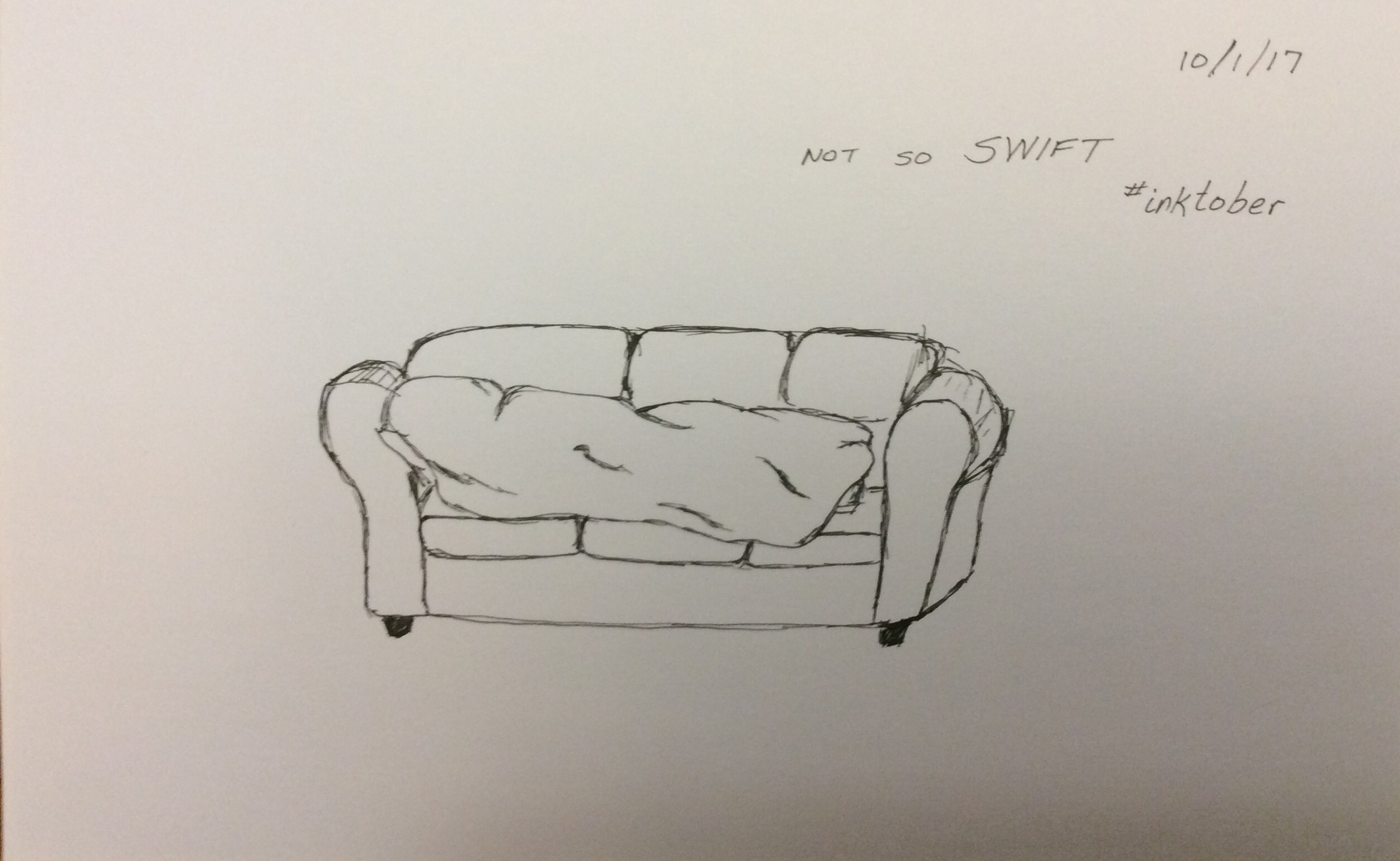 sketch of napping on couch