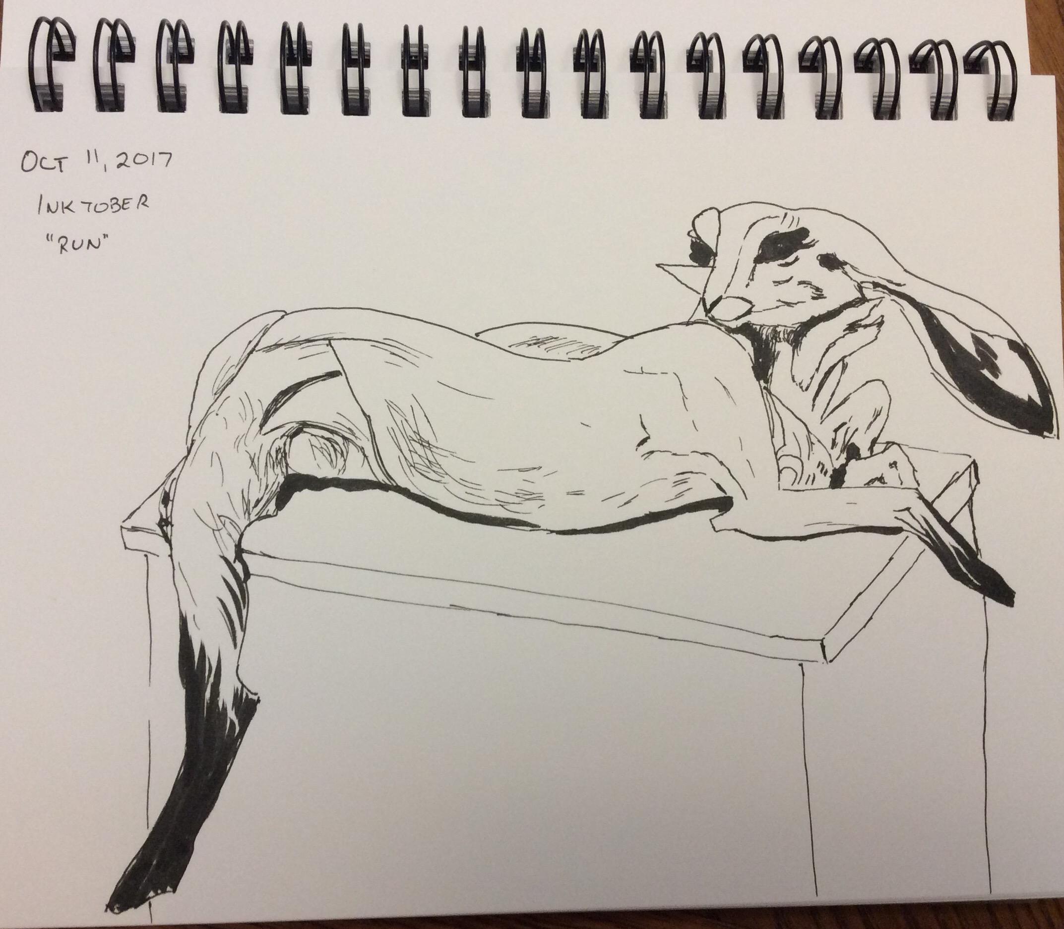 ink drawing of sculpture by Beth Cavener