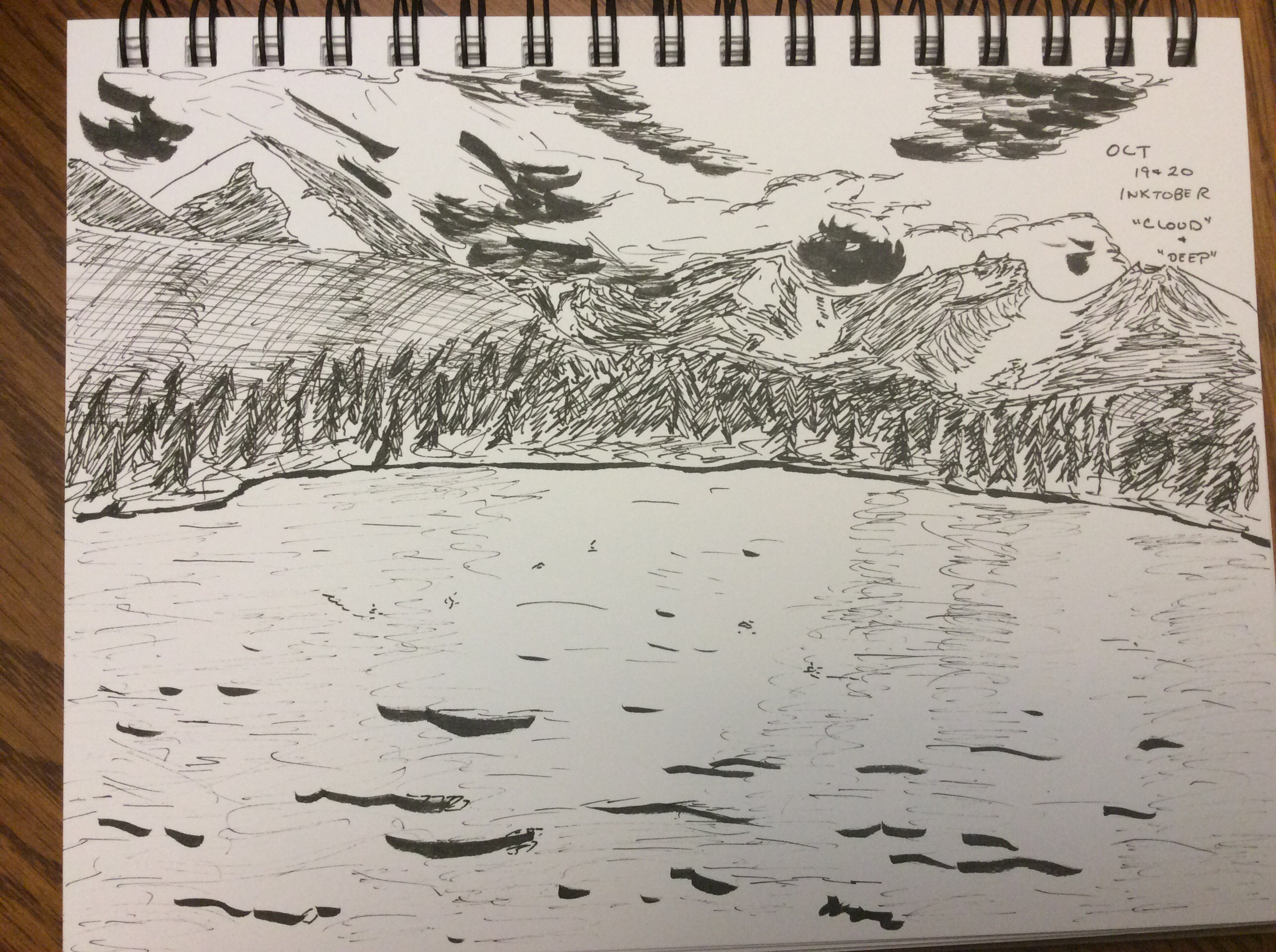 ink drawing of Sprague Lake