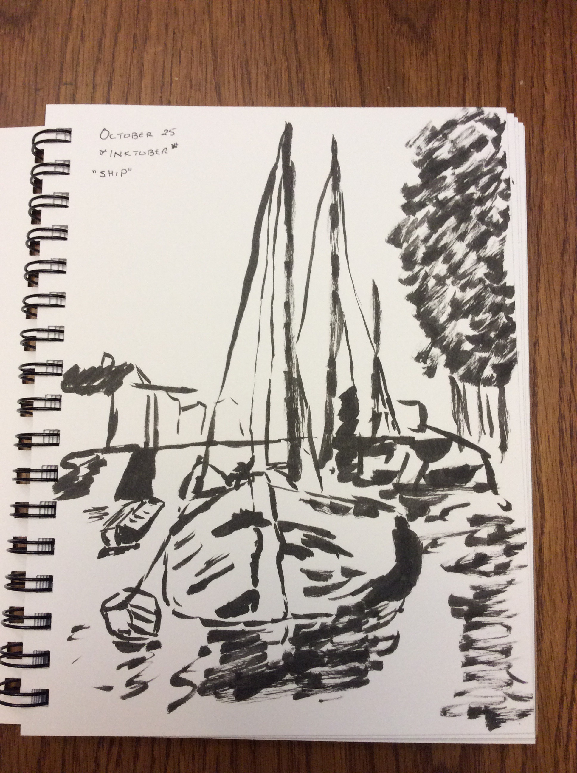 ink drawing of barges, after Mondrian