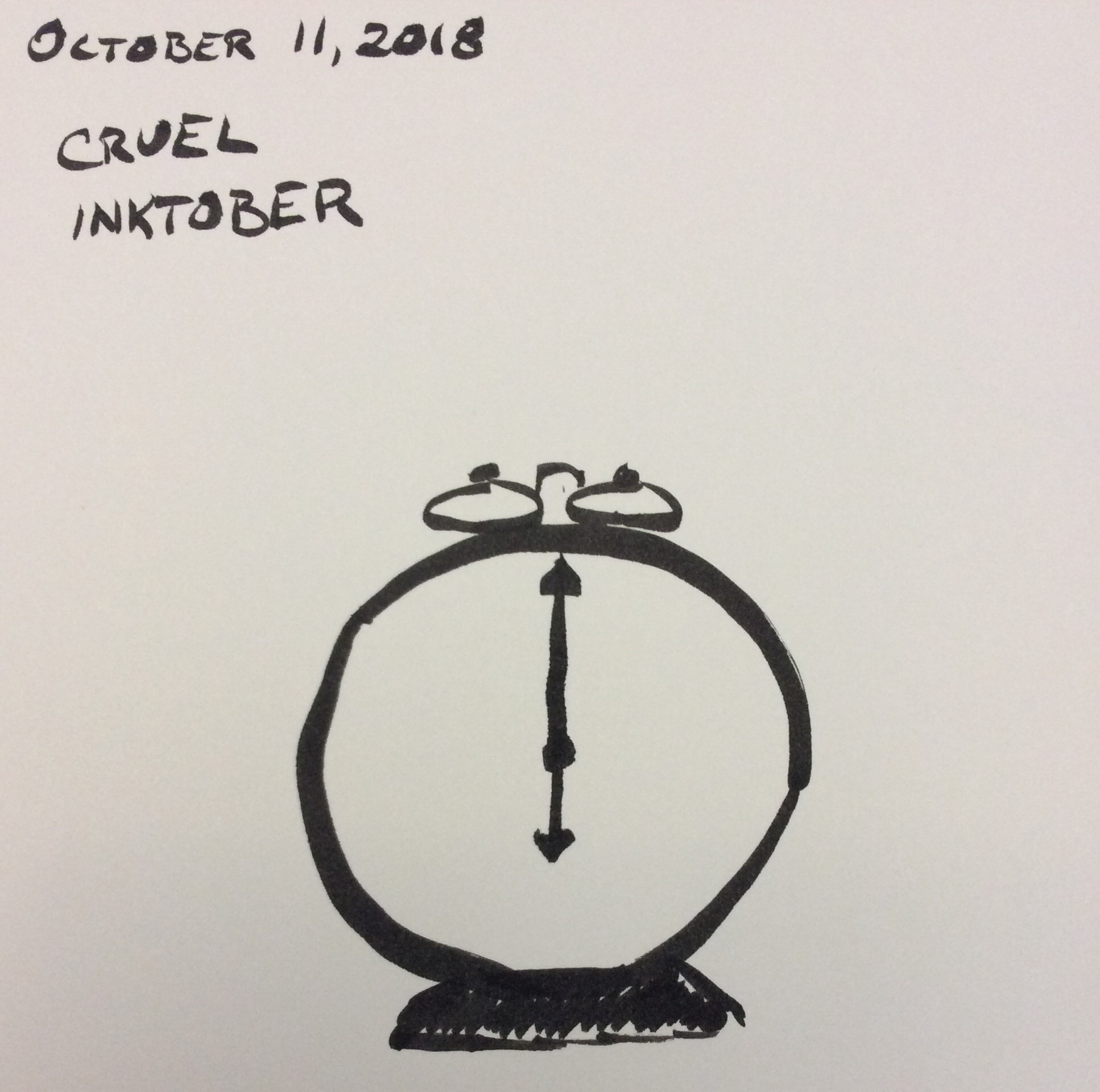 Drawing of a clock set to six o'clock, keywords cruel and Inktober
