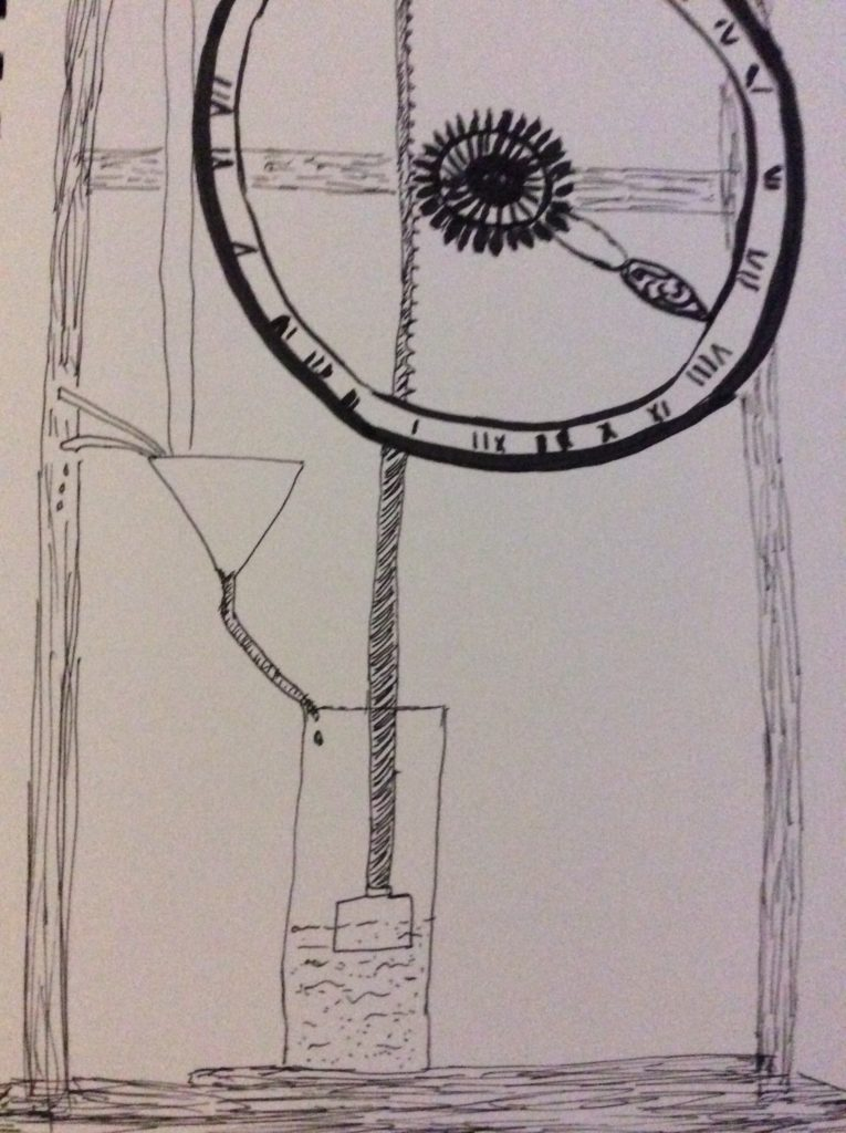 Drawing of a water clock