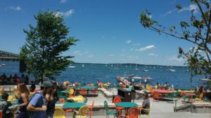 view of lake from University of Wisconsin student union terrace